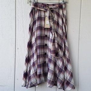 Button front plaid skirt
